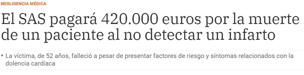 El SAS pagará 420.000 euros por la muerte de un paciente al no detectar un infarto